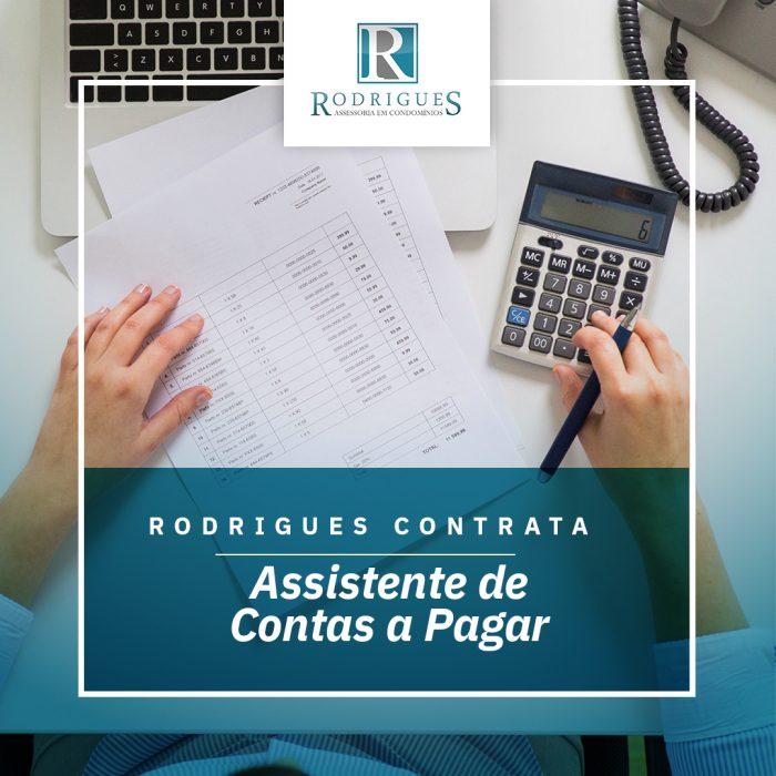 A Rodrigues Assessoria em Condomínios contrata ASSISTENTE DE CONTAS A PAGAR