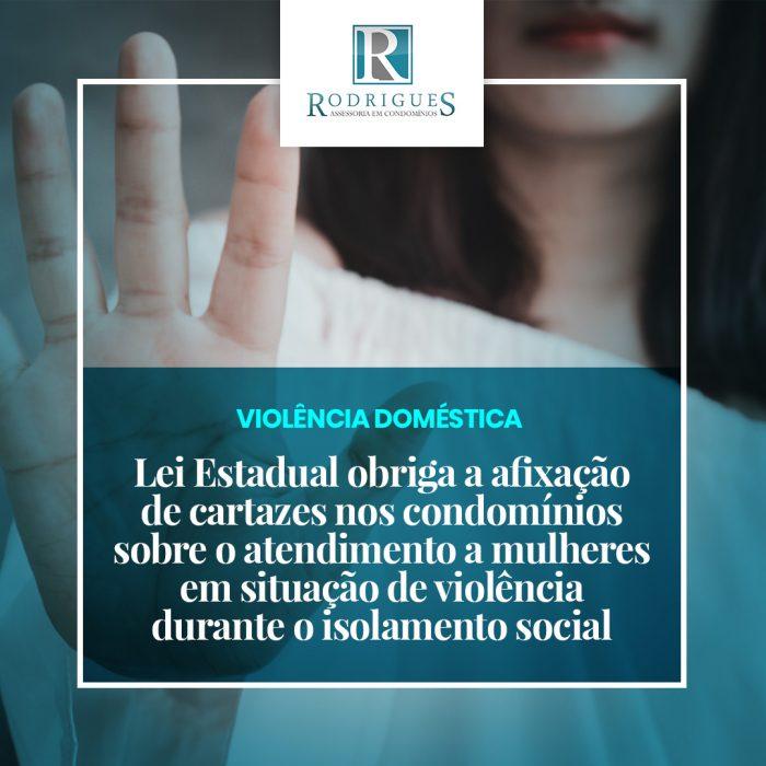 Cartazes nos condomínios sobre o atendimento a mulheres em situação de violência